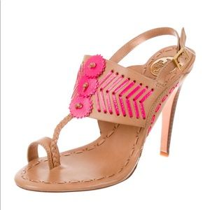 Tory Burch Tan & Hot Pink Woven Leather Sandals